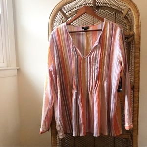 A.N.A NWT Pastel Striped Tie Front Blouse✨
